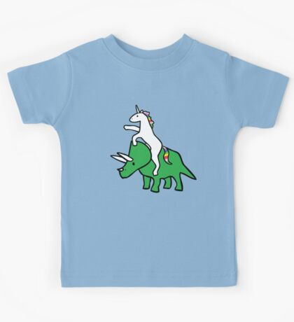 Unicorn Riding Triceratops Kids Tee