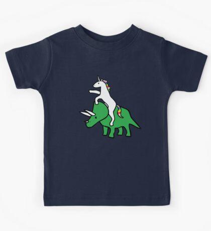 Unicorn Riding Triceratops Kids Tee