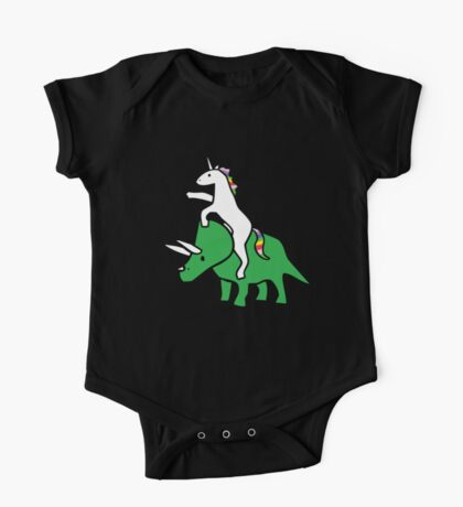 Unicorn Riding Triceratops One Piece - Short Sleeve