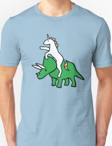 Unicorn Riding Triceratops Unisex T-Shirt