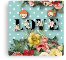teal,mint,white,polka dots,flowers,floral,shabby chic,cute,boy,girl Canvas Print