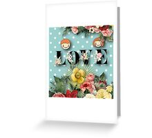 teal,mint,white,polka dots,flowers,floral,shabby chic,cute,boy,girl Greeting Card