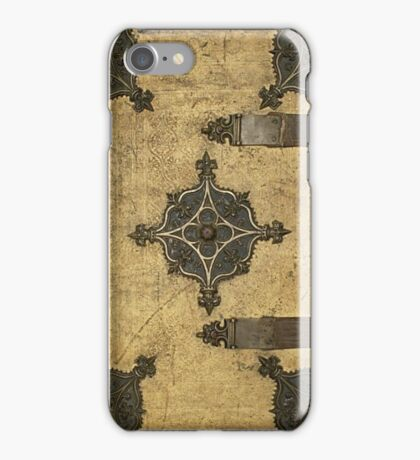 Rustic Medieval Leather Book Cover Design iPhone Case/Skin