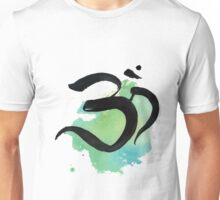 Brushy Om with Blue and Green Splatt Unisex T-Shirt