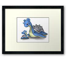 Lapras Pokemon Mother & Child Framed Print
