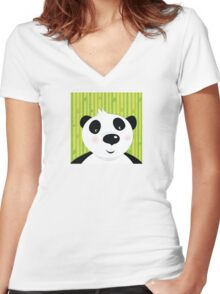 Black and white panda bear on bamboo leaf green background Women's Fitted V-Neck T-Shirt