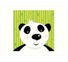 Black and white panda bear on bamboo leaf green background Art Print