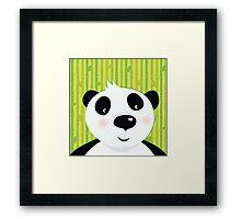 Black and white panda bear on bamboo leaf green background Framed Print