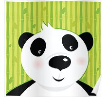 Black and white panda bear on bamboo leaf green background Poster