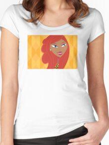 Luxury Girl as Lion inspired Girls illustration Women's Fitted Scoop T-Shirt