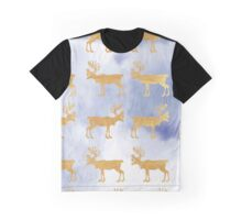 Gold,rein deer,on sky blue background,pattern,modern,trendy Graphic T-Shirt
