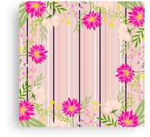 cute,floral,flowers,modern,stripes,pattern,trendy,girly,beautiful, Canvas Print