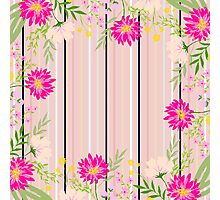 cute,floral,flowers,modern,stripes,pattern,trendy,girly,beautiful, Photographic Print