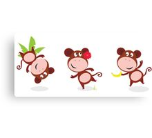 Safari animals: Brown cute monkey poses isolated on white Canvas Print
