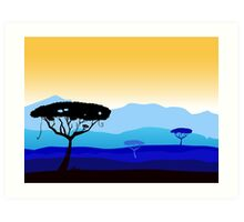 African safari background with tree silhouette Art Print