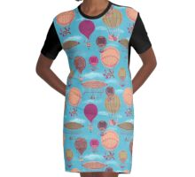 Vintage Flying Machines and Hot Air Balloons Graphic T-Shirt Dress