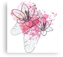 Flowers With Splatter Paint Canvas Print