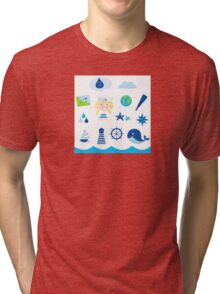 Nautic, sailor and adventure icons - blue Tri-blend T-Shirt