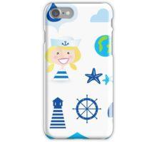 Nautic, sailor and adventure icons - blue iPhone Case/Skin