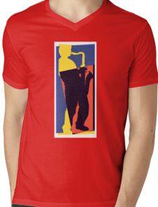 Pop Art Sax Player 1 Mens V-Neck T-Shirt