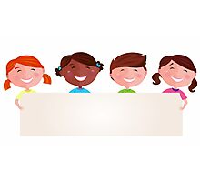 Cute multicultural kids holding a blank banner for your message Photographic Print