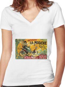 LA MOUCHE; Vintage Auto Advertising Print Women's Fitted V-Neck T-Shirt