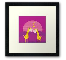 Two yellow african giraffes in love. Illustration of yellow two giraffes Framed Print