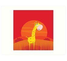 Cute giraffe inside nature africa sunset safari scene Art Print