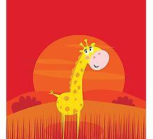 Cute giraffe inside nature africa sunset safari scene Photographic Print
