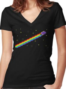 Flying Nyan's Pixel Cat Women's Fitted V-Neck T-Shirt