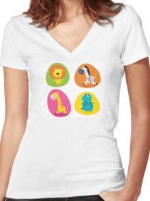 Cute safari animals set - lion, zebra, giraffe and hippo Women's Fitted V-Neck T-Shirt