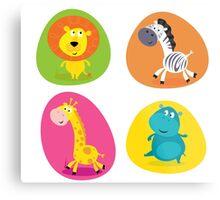 Cute safari animals set - lion, zebra, giraffe and hippo Metal Print