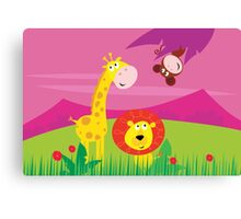 Funny jungle africa animals: Giraffe, Lion and Monkey Canvas Print