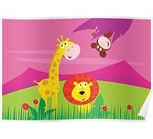 Funny jungle africa animals: Giraffe, Lion and Monkey Poster