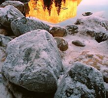 FROSTED BOULDERS,MERCED RIVER by Chuck Wickham