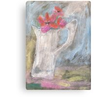 The dented old jug in a sunny spot Canvas Print