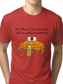 Funny Funky Crab Drinking Beer Cartoon Tri-blend T-Shirt