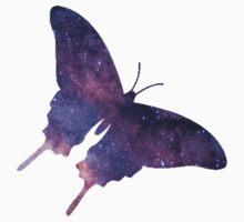 Butterfly Space Star Nebula Silhouette  Kids Tee