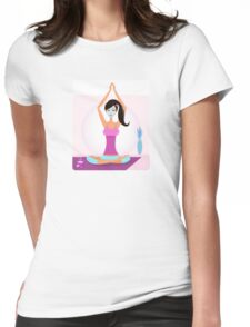 Yoga girl with facial mask practicing yoga asana Womens Fitted T-Shirt