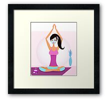 Yoga girl with facial mask practicing yoga asana Framed Print