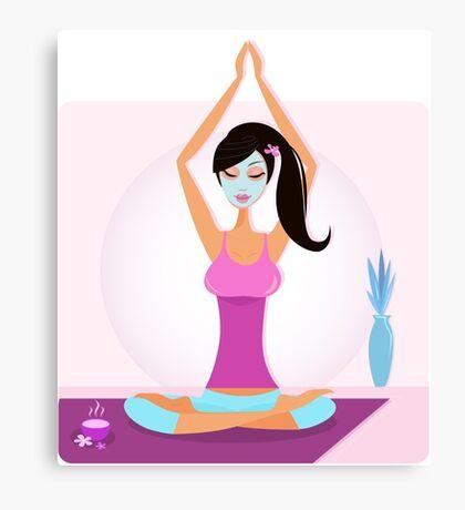 Yoga girl with facial mask practicing yoga asana Canvas Print