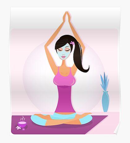 Yoga girl with facial mask practicing yoga asana Poster