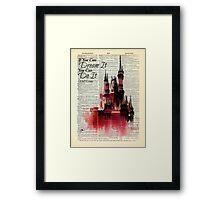Disney Castle Watercolor - Dream it, Do It - Dictionary Art Print Framed Print