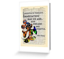 """Disney Quote w/ Mickey Mouse Art - """"Imagination Has No Age..."""" - Dictionary Art Print Greeting Card"""