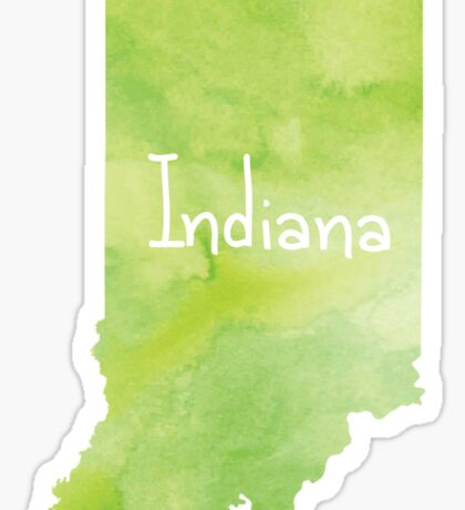 Green Watercolor Indiana Sticker