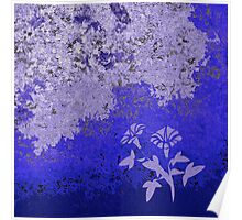Shades Of Blue Floral Poster