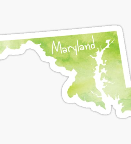Green Watercolor Maryland Sticker
