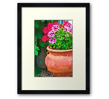 Martha's Geraniums - Oil Artwork Framed Print