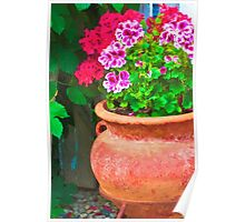 Martha's Geraniums - Oil Artwork Poster