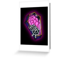 Vacancy - Empty Casket - Tattoo Style Coffin with Roses Greeting Card